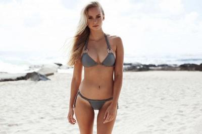 Halter Bandage Swimwear Triangle Two Piece Sexy Bikini Set_8