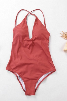 Plain V-neck Criss-cross Bandage One Piece Swimsuits_2