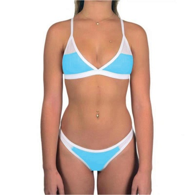 Triangle Pads Colorful Plain Sheer Net Sexy Bikini Sets_9