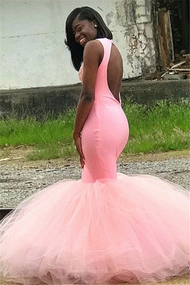 Pink Sleeveless Appliques Backless Mesh Sexy Mermaid Prom Dresses_2