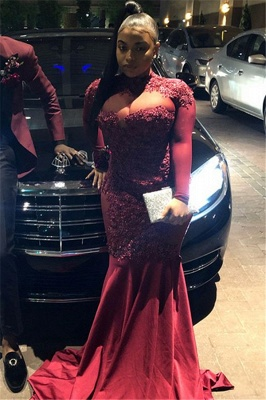 Burgundy High-Neck Long-Sleeves Sheer-Mesh Applique Prom Dress_3