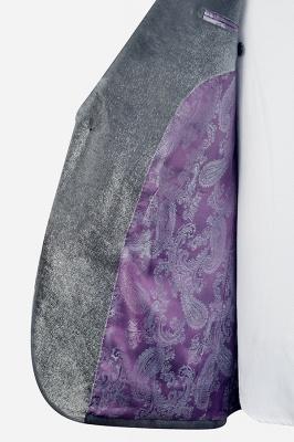 Hot Recommend Grey Velvet Custom Wedding Suit For Groom | Peak lapel Single Breasted 2 Pocket Formal Men Suits_6