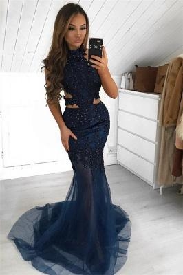 Gorgeous Halter Sleeveless Sheer- Mermaid Prom Dress_1