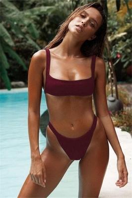 Simple Square Spaghetti Straps Two Piece Sexy Bikini Sets_1