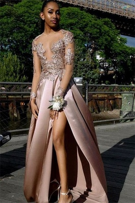 Glamorous Long-Sleeves Side Slit Backless Applique  Long Prom Dress_1