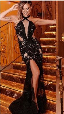 Criss Cross Side-Slit Halter Sleeveless Lace Appliques Mermaid Sexy Black Prom Dress_1