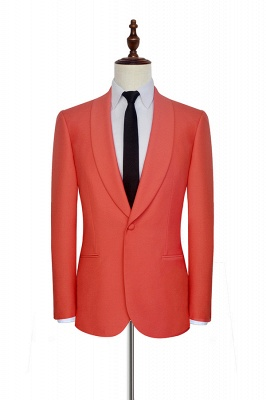 New Arrival Single Breasted One Button 2 Pocket Tailored Suit | Watermelon Red Shawl Collar Custom Suit Groom Wedding Tuxedos_3
