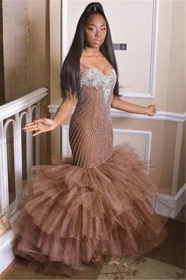 Gorgeous Straps Sleeveless Applique Mesh Sexy Mermaid Prom Dress_1