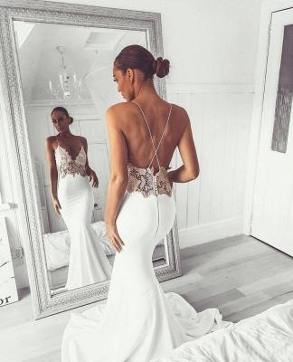Glamorous Spaghetti-Straps Backless Appliques Sexy Mermaid Wedding Dress_3