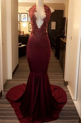 Burgundy Halter Appliques Sexy Mermaid Prom Dresses_1