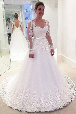 Fashion Lace Appliques Wedding Dresses_1