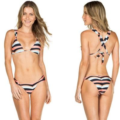 Stripes Criss-cross Triangle Bras Two Piece Sexy Bikini Swimwear_4