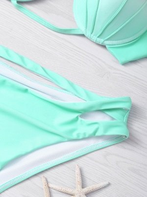 Shell Shaped Gradient Mint Green Sexy Bikini Set_5