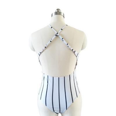 One Piece Stripes V-neck Hollow Back Swimwear_5