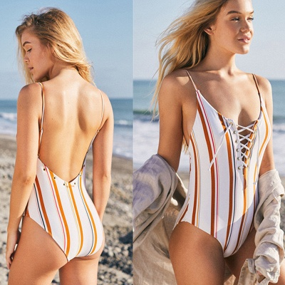 Stripes Spaghetti Lace-up One Piece Swimwear_3