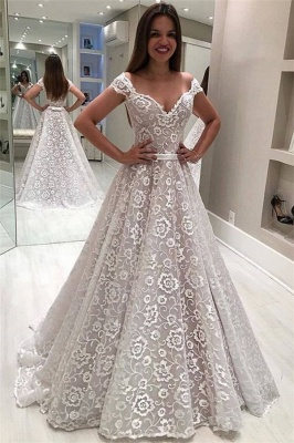 Fashion Lace Off-the-Shoulder Ruffles Pearls Wedding Dresses_1