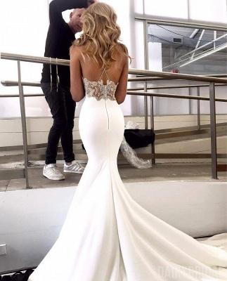 Glamorous Spaghetti-Straps Backless Appliques Sexy Mermaid Wedding Dress_2