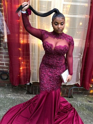 Burgundy High-Neck Long-Sleeves Sheer-Mesh Applique Prom Dress_4