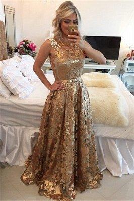 Glamorous Gold Straps Beaded Sequins Sleeveless Prom Dress_1