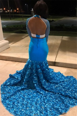 Gorgeous High-Neck Appliques Flower Long-Sleeves Mermaid Prom Dress_2