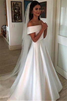 Glamorous Off-the-Shoulder Wedding Dresses with Bowknot Ribbons_1