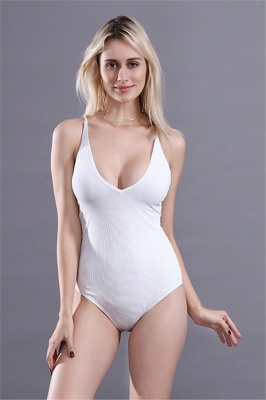 Plain V-neck Criss-cross Bandage One Piece Swimsuits_1