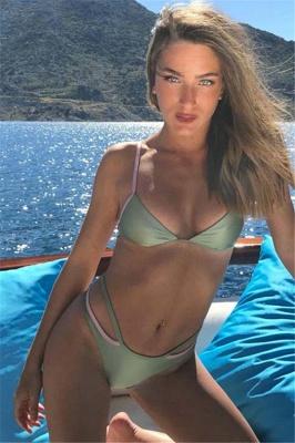 Spaghetti Straps Triangle Pads Plain Sexy Bikini Sets_1