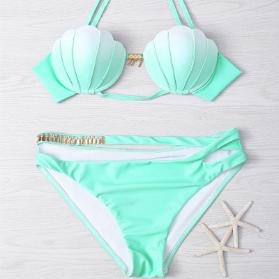 Shell Shaped Gradient Mint Green Sexy Bikini Set_7