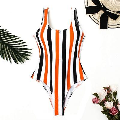 One Piece Zipper Stripes Straps Swimwear Suits_9
