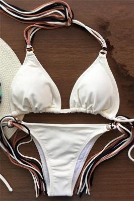 Triangle Pads Halter Straps Multicolor Two Piece Sexy Bikini Sets_1