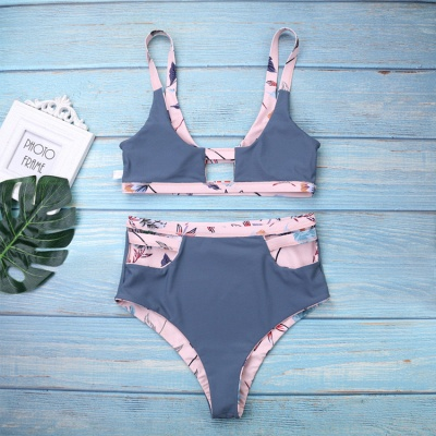 Flower Prints Pink Two Piece Lovely Sexy Bikini Swimwear_4