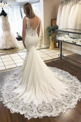 Glamorous V-Neck Lace Mermaid Wedding Dresses_2