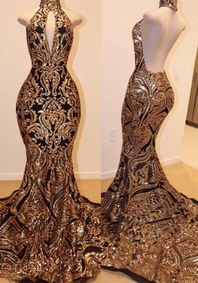 Halter Keyhole Neckline Sequins Appliqued Sexy Mermaid Prom Dresses_1