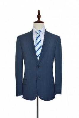 Dark Grey Blue Notched Lapel Custom Suit For Men   Fashion Single Breasted Two Botton Business Men Suit_3