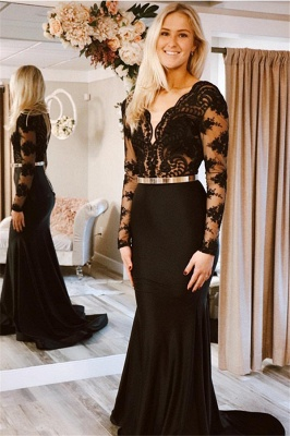 Gorgeous Lace Applique Long Sexy Mermaid Black Prom Dresses with Lone Sleeves_1