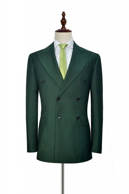 Green Double Breasted Tailored Suit For Formal   Peaked Lapel 3 Pockets Custom Made Causal Suit_3