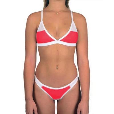 Triangle Pads Colorful Plain Sheer Net Sexy Bikini Sets_1