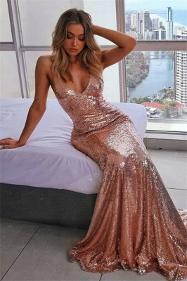 Sexy Spaghetti-Straps Sequins Sleeveless Mermaid Prom Dress_1