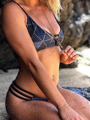 Irregular Streaks Bandage Two Piece Swimwear Suits_3
