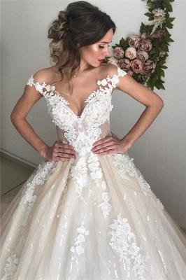 Applique Off-the-Shoulder Wedding Dresses | Sequins Backless Sleeveless Floral Bridal Dresses_4