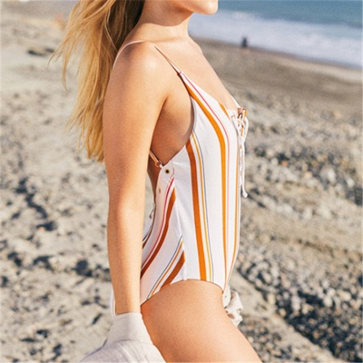 Stripes Spaghetti Lace-up One Piece Swimwear_7