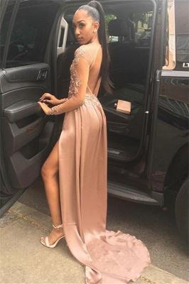 Glamorous Long-Sleeves Side Slit Backless Applique  Long Prom Dress_2