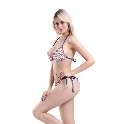 Floral Prints Triangle Pads Halter Bandage Two Piece Sexy Bikini Swimwear_4