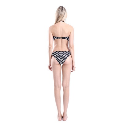 Black and White Straps Halter Two Piece Sexy Bikini Sets_6