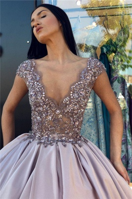 V-neck Sleeveless Crystal Beading Ball-Gown Prom Dresses_4