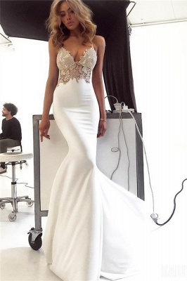 Glamorous Spaghetti-Straps Backless Appliques Sexy Mermaid Wedding Dress_1