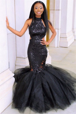 Sexy Black Halter Sleeveless Applique Mesh Sexy Mermaid Prom Dress_1