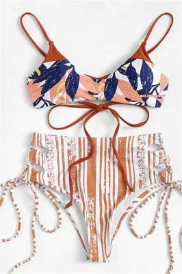 Colorful Patterns Spaghetti Straps Lace-up Sexy Bikini Sets_1