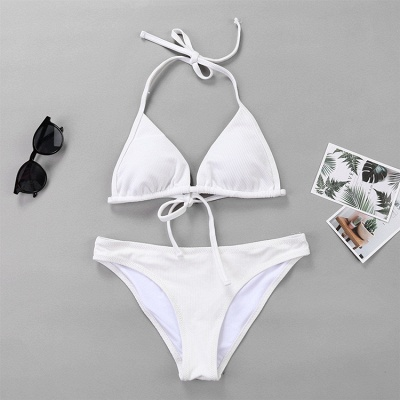 Plain Triangle Pads Halter Two Piece Sexy Bikini Sets_14