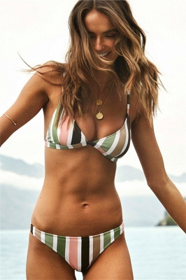 Colorful Stripes Triangle Pads Two Piece Sexy Bikini Sets_7